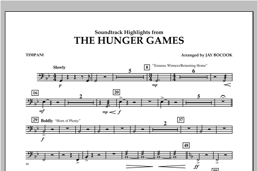 The Hunger Games (Soundtrack Highlights) - Timpani Sheet Music