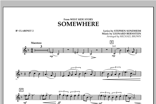 Somewhere (from West Side Story) - Bb Clarinet 2 (Concert Band)