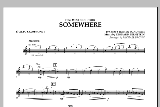Somewhere (from West Side Story) - Eb Alto Saxophone 1 (Concert Band)