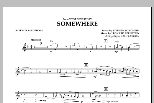 Somewhere (from West Side Story) - Bb Tenor Saxophone (Concert Band)