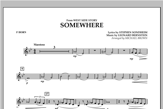 Somewhere (from West Side Story) - F Horn Sheet Music