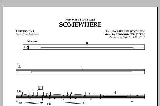 page one of Somewhere (from West Side Story) - Percussion 1ASALTTEXT
