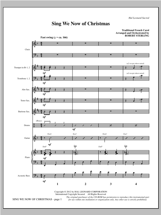 Sing We Now Of Christmas - Full Score Sheet Music