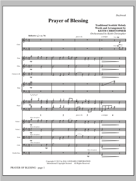 Prayer Of Blessing (complete set of parts) sheet music for orchestra/band (Winds/Strings) by Keith Christopher and Traditional Scottish Melody. Score Image Preview.