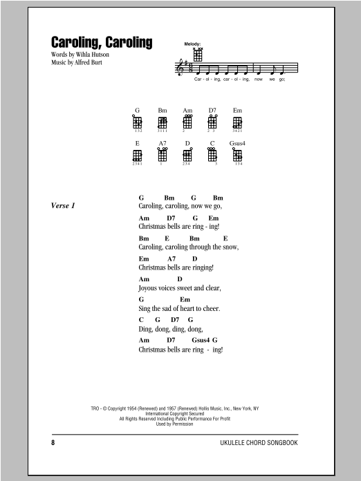 Tablature guitare Caroling, Caroling de Wihla Hutson - Ukulele (strumming patterns)