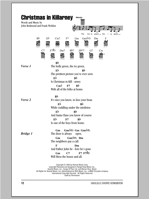 Tablature guitare Christmas In Killarney de Frank Weldon - Ukulele (strumming patterns)