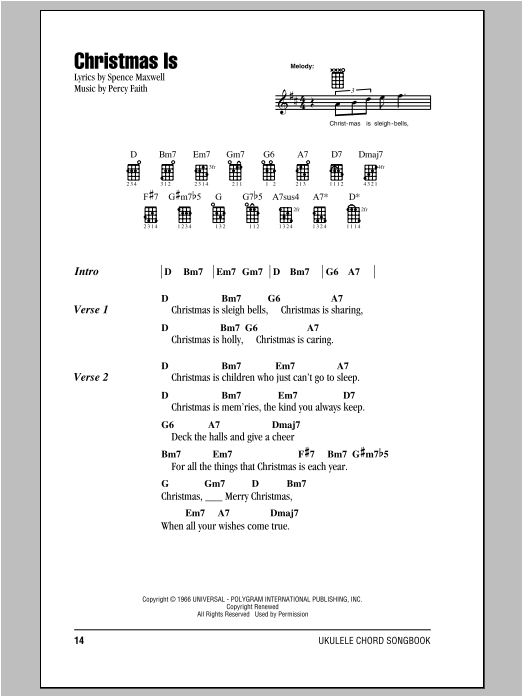 Tablature guitare Christmas Is de Percy Faith - Ukulele (strumming patterns)