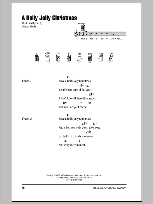 A Holly Jolly Christmas Sheet Music Johnny Marks Ukulele With