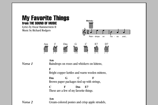Tablature guitare My Favorite Things (from The Sound Of Music) de Rodgers & Hammerstein - Ukulele (strumming patterns)
