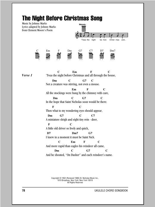 The Night Before Christmas Song (Ukulele Chords/Lyrics)