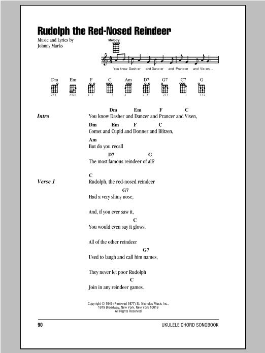 Tablature guitare Rudolph The Red-Nosed Reindeer de Johnny Marks - Ukulele (strumming patterns)