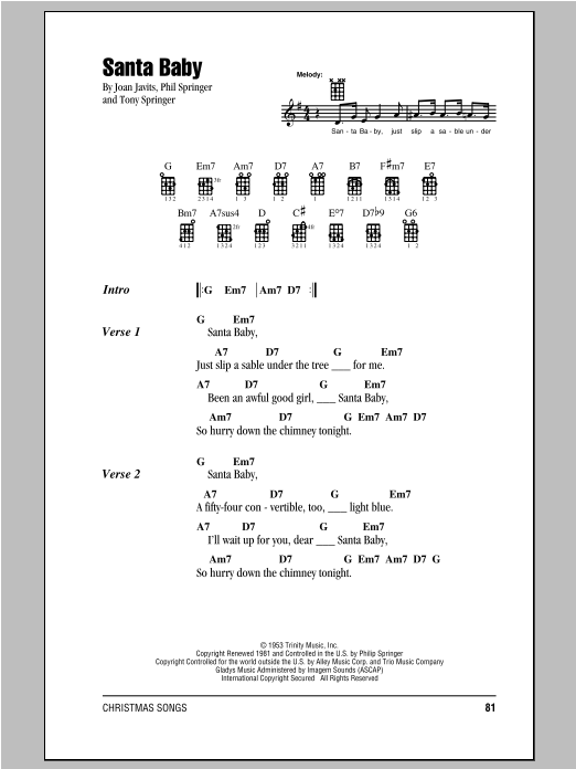 Santa Baby Guitar Tab By Phil Springer Ukulele Strumming Patterns