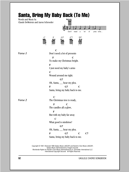 Tablature guitare Santa, Bring My Baby Back (To Me) de Elvis Presley - Ukulele (strumming patterns)