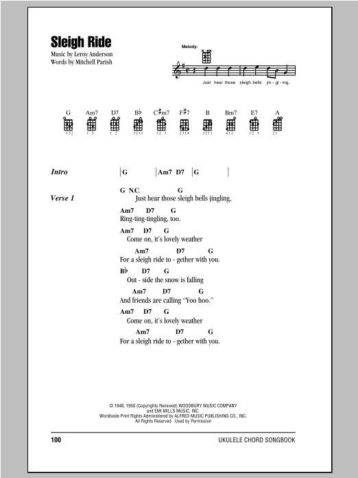 Tablature guitare Sleigh Ride de Mitchell Parish - Ukulele (strumming patterns)