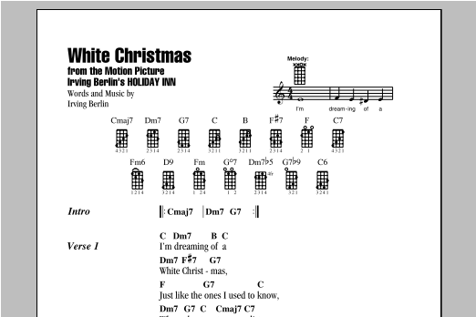 White Christmas Lyrics.White Christmas Ukulele Chords Lyrics Print Sheet Music Now