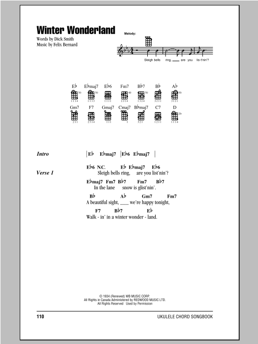 Winter Wonderland Sheet Music By Felix Bernard Ukulele With