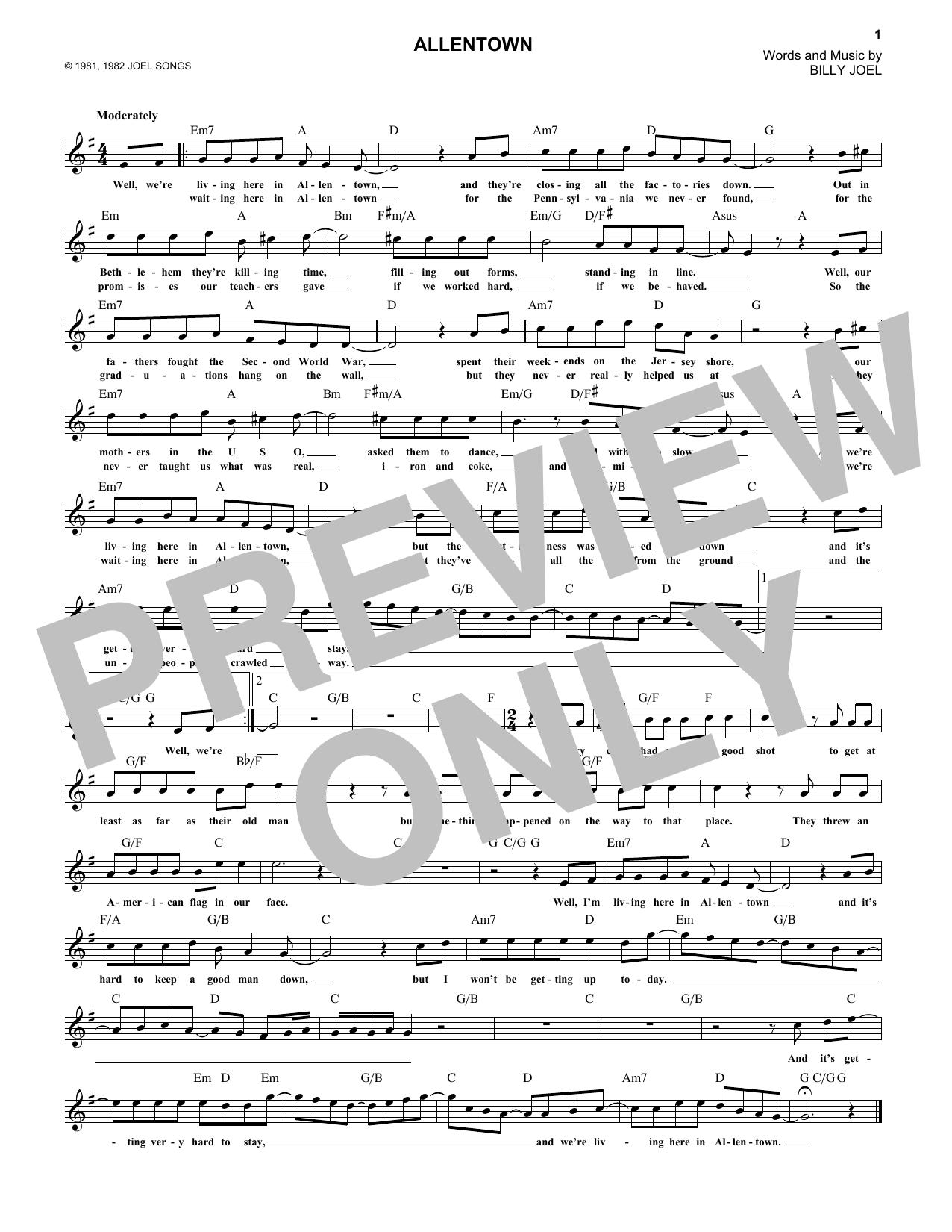 Allentown Sheet Music