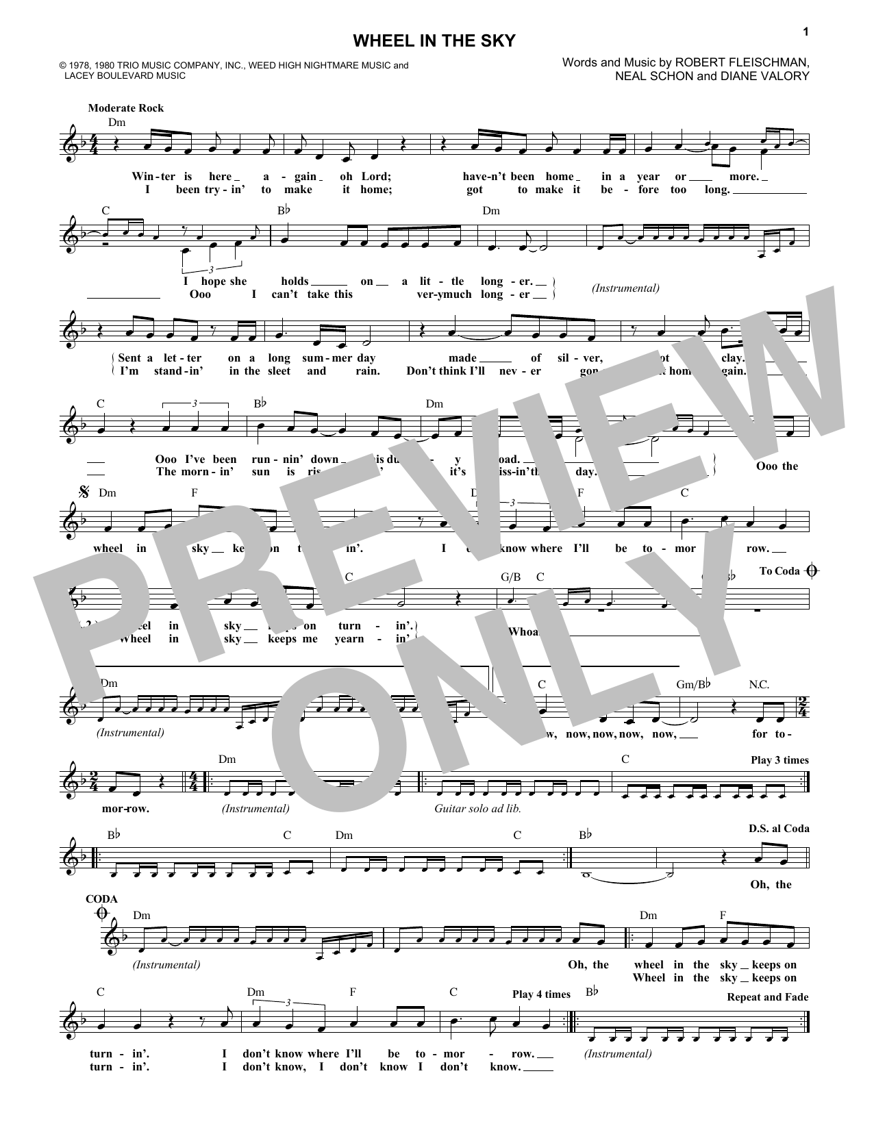 Wheel In The Sky (Lead Sheet / Fake Book)