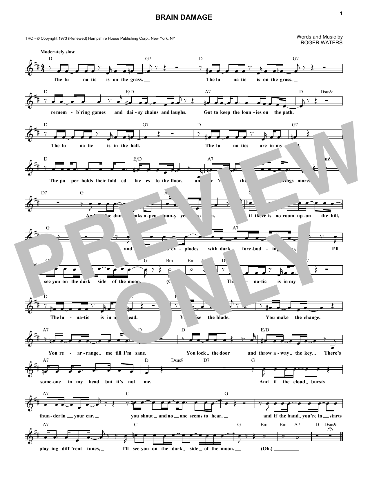 Brain Damage (Lead Sheet / Fake Book)