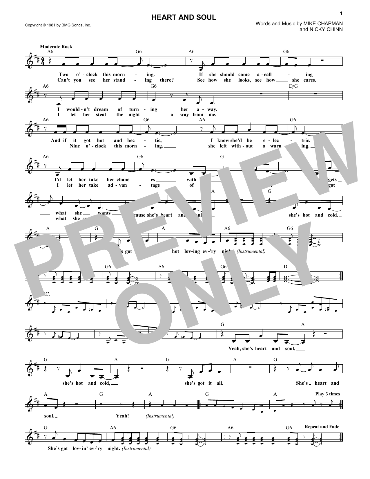 Heart And Soul (Lead Sheet / Fake Book)
