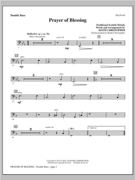 Prayer Of Blessing - Double Bass Sheet Music