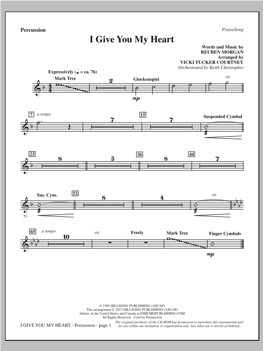 I Give You My Heart - Percussion Sheet Music
