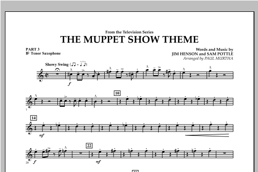 The Muppet Show Theme - Pt.3 - Bb Tenor Saxophone Sheet Music