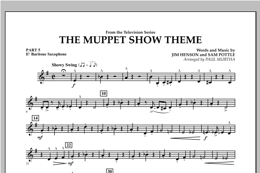 The Muppet Show Theme - Pt.5 - Eb Baritone Saxophone Sheet Music