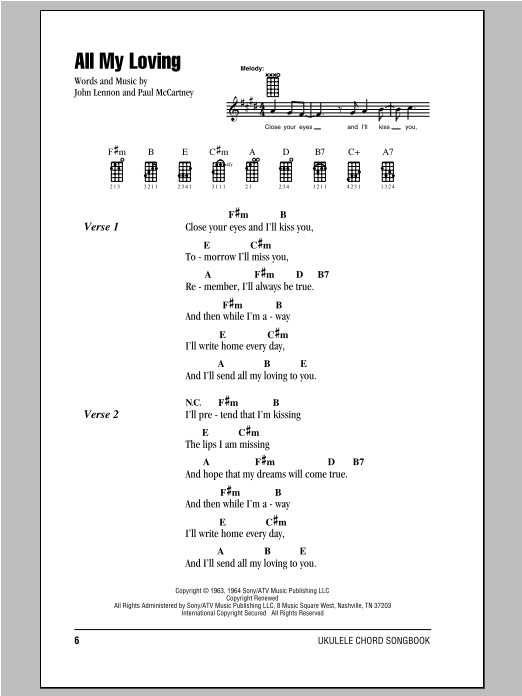 Tablature guitare All My Loving de The Beatles - Ukulele (strumming patterns)