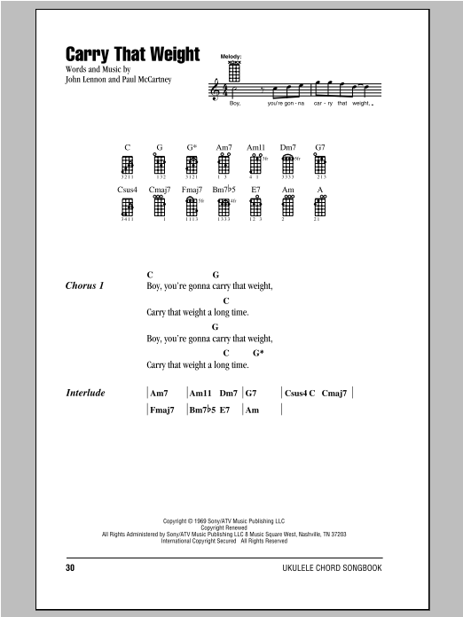 Tablature guitare Carry That Weight de The Beatles - Ukulele (strumming patterns)