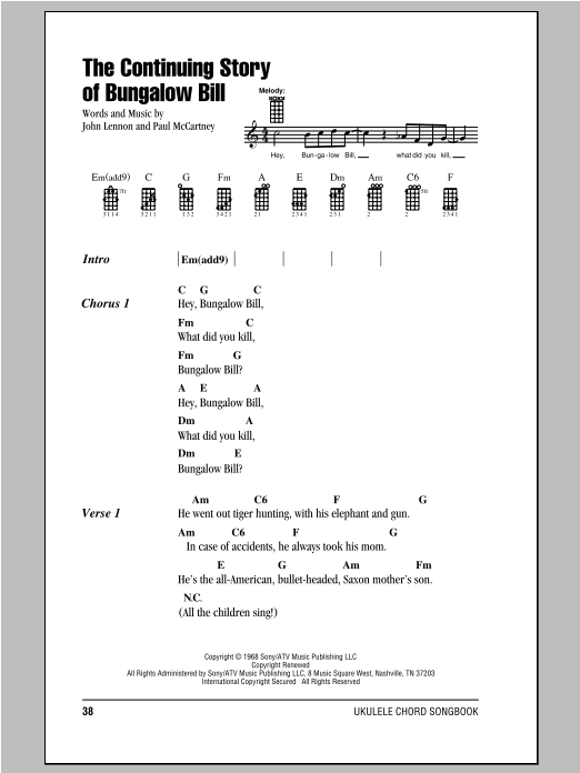 Tablature guitare The Continuing Story Of Bungalow Bill de The Beatles - Ukulele (strumming patterns)