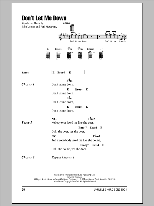 Dont Let Me Down Sheet Music By The Beatles Ukulele With Strumming