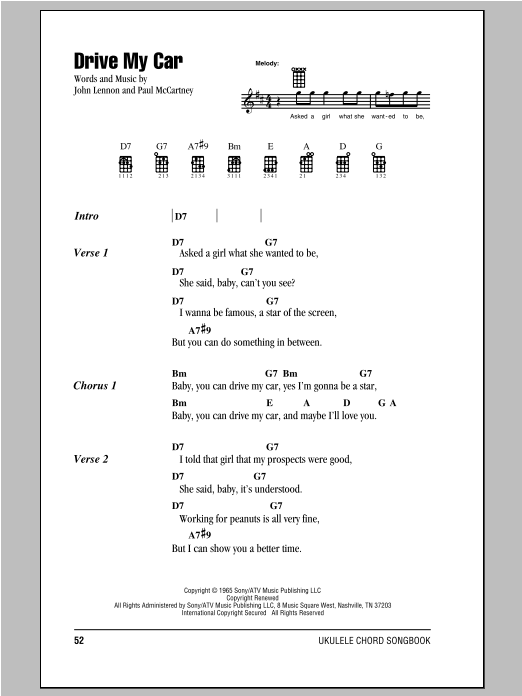 Tablature guitare Drive My Car de The Beatles - Ukulele (strumming patterns)