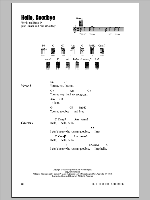 Tablature guitare Hello, Goodbye de The Beatles - Ukulele (strumming patterns)