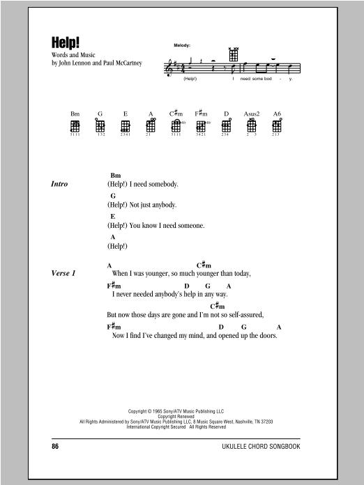 Help! (Ukulele Chords/Lyrics)