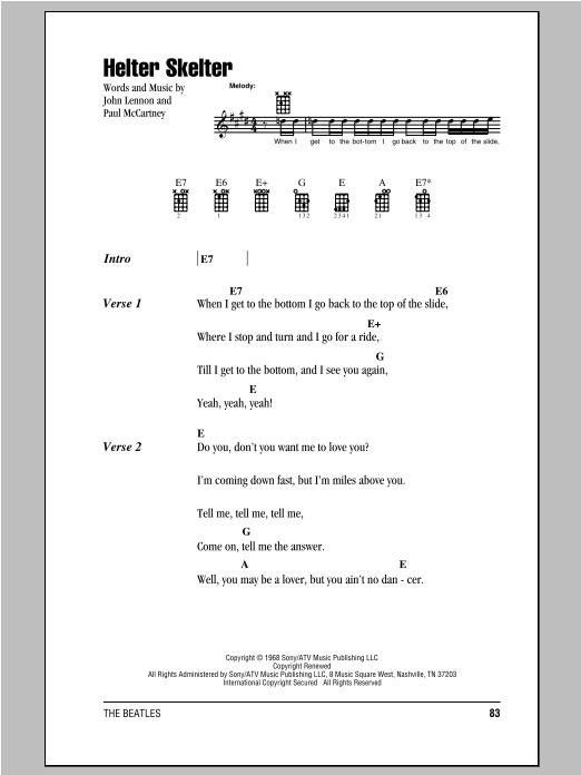 Helter Skelter (Ukulele Chords/Lyrics)