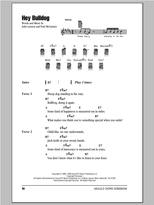 Hey Bulldog Sheet Music