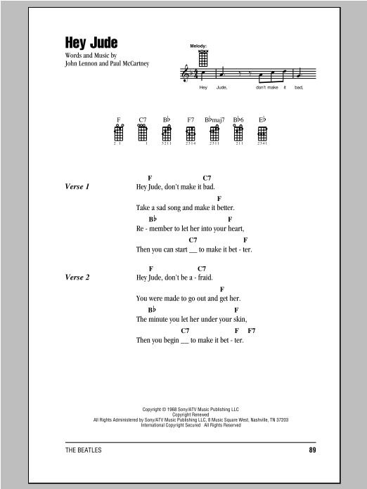 Tablature guitare Hey Jude de The Beatles - Ukulele (strumming patterns)