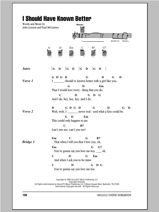 Tablature guitare I Should Have Known Better de The Beatles - Ukulele (strumming patterns)