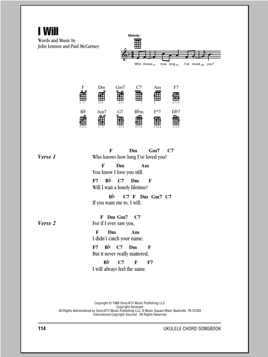 Tablature guitare I Will de The Beatles - Ukulele (strumming patterns)
