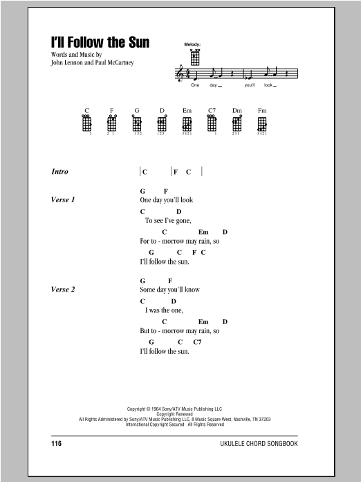 I'll Follow The Sun by The Beatles Ukulele with Strumming Patterns Digital  Sheet Music