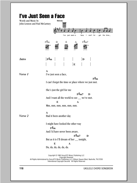 Tablature guitare I've Just Seen A Face de The Beatles - Ukulele (strumming patterns)