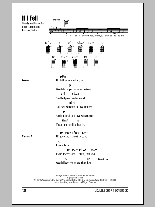 Tablature guitare If I Fell de The Beatles - Ukulele (strumming patterns)
