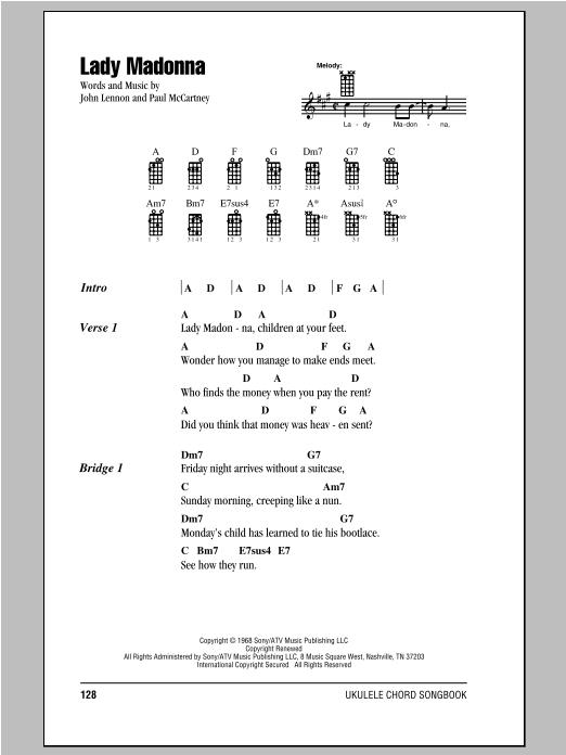 Tablature guitare Lady Madonna de The Beatles - Ukulele (strumming patterns)