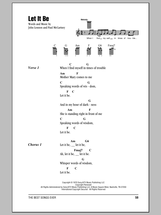 Let It Be Sheet Music By The Beatles Ukulele With Strumming
