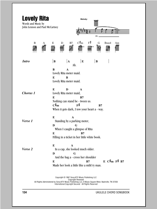 Tablature guitare Lovely Rita de The Beatles - Ukulele (strumming patterns)