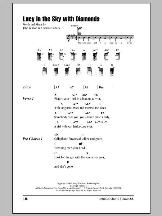 Tablature guitare Lucy In The Sky With Diamonds de The Beatles - Ukulele (strumming patterns)