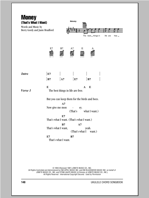 Tablature guitare Money (That's What I Want) de The Beatles - Ukulele (strumming patterns)