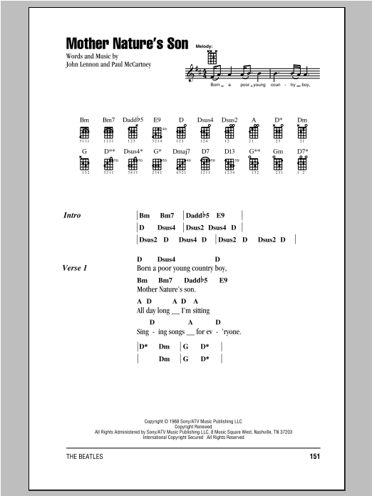 Tablature guitare Mother Nature's Son de The Beatles - Ukulele (strumming patterns)
