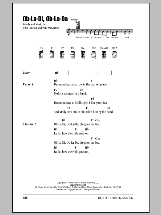 Ob La Di Ob La Da Sheet Music By The Beatles Ukulele With